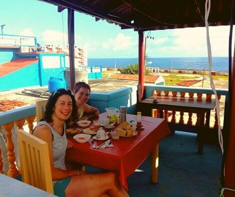 Breakfast with eggs and a view in Cuba