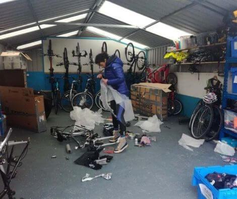 Rachel packing for bike-packing in Cuba