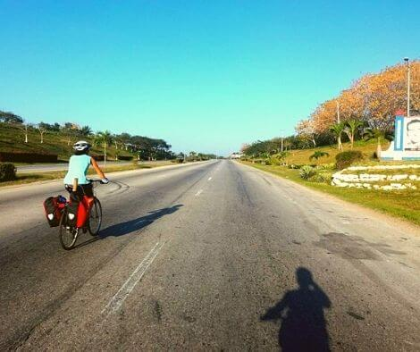 Cycling on a Cuban motorway