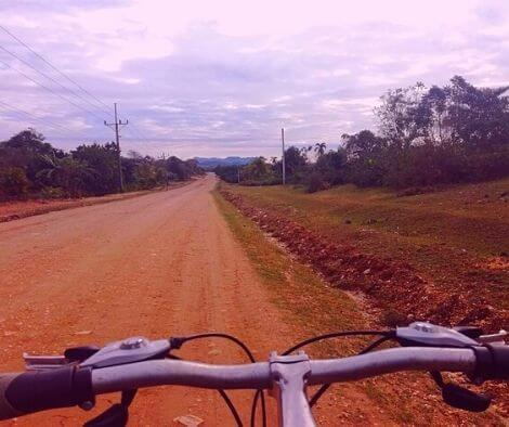 A dirt road on our cycling trip in Cuba
