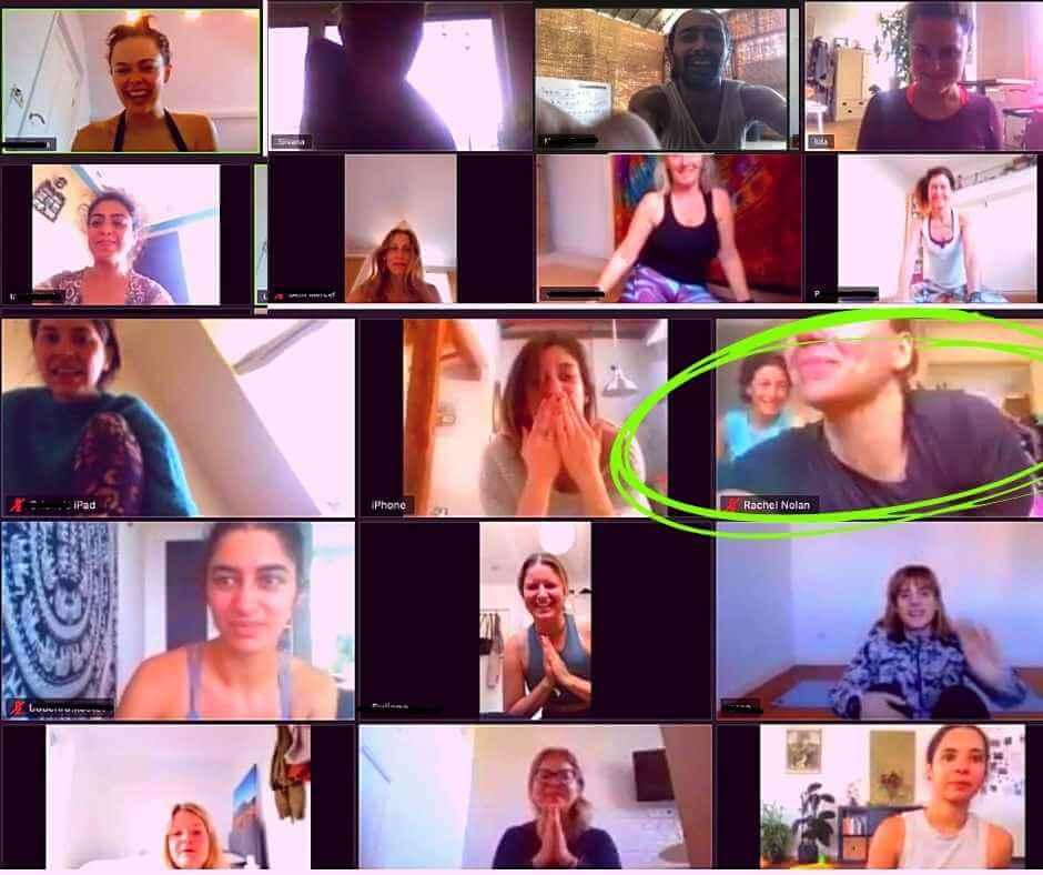 A screen shot of a zoom online yoga class
