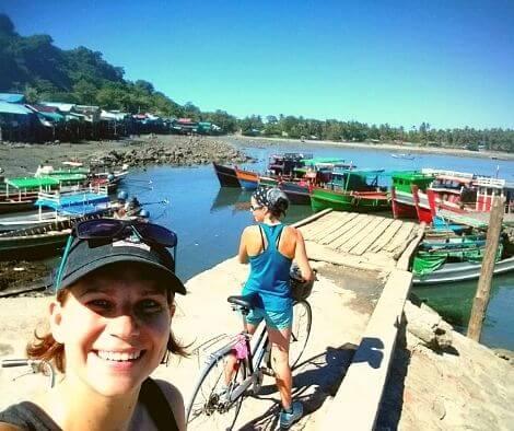 Rachel and Iszy exploring Myanmar