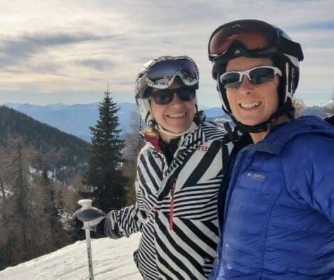 Rachel and Iszy skiing in Austria